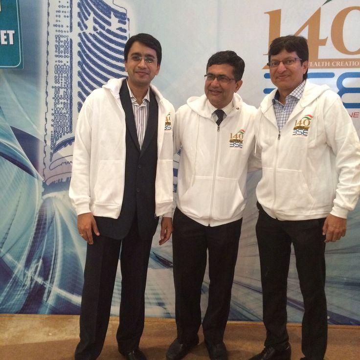 #ChoiceBroking -Mr. Ajay Kejriwal and Mr. Mahavir Toshniwal at BSE 140 years Celebration with Ashishji Chavan,MD,BSE.