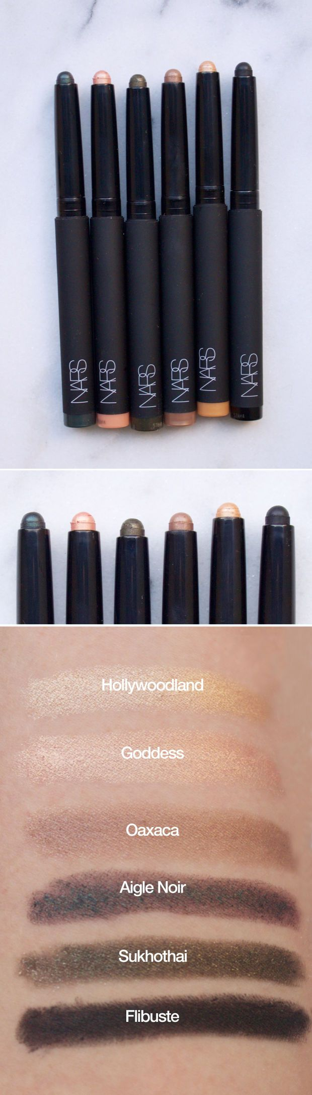 NARS Velvet Shadow Sticks in Hollywoodland, Goddess, Oaxaca, Aigle Noir, Sukhothai and Flibuste. http://beautyeditor.ca/2015/10/13/best-fall-makeup-products
