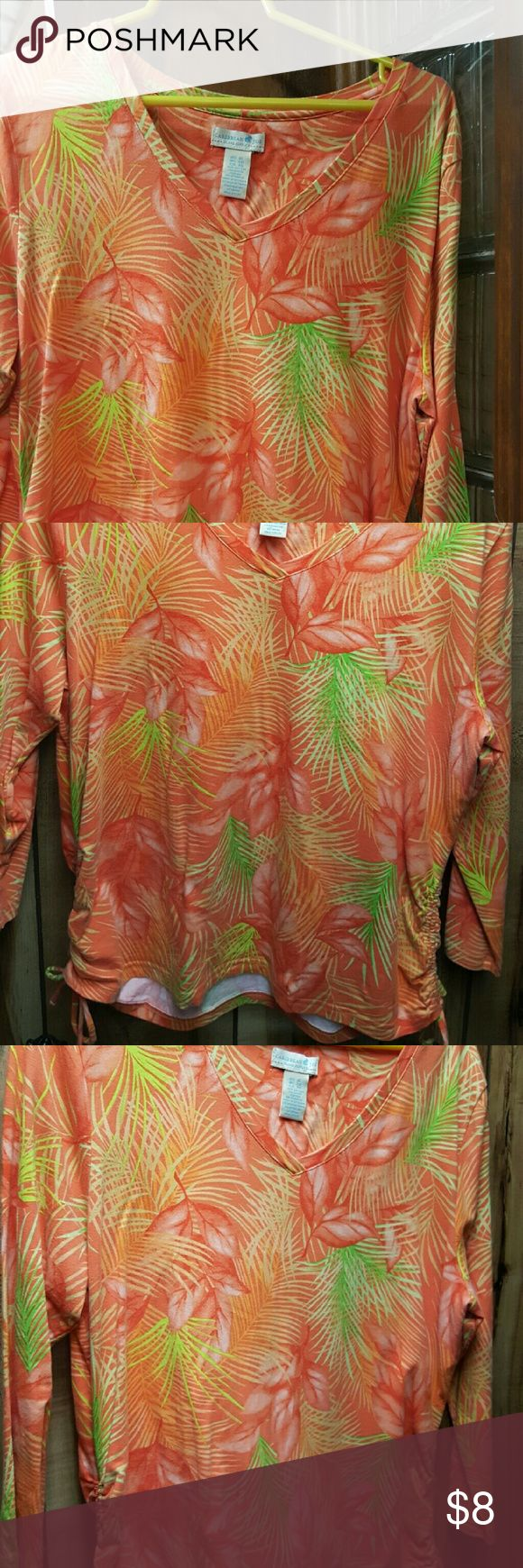 Caribbean Joe Shirt Tropical shirt, side tie cinching, worn only a few times, 95% cotton, 5% spandex. Caribbean Joe Tops