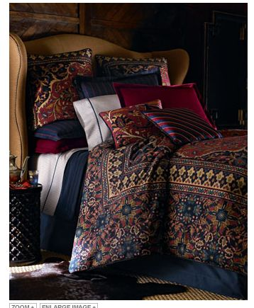 """Ralph Lauren Bedding - I have this, now I need draperies and a 21"""" bed skirt for a double (antique) bed to coordinate."""