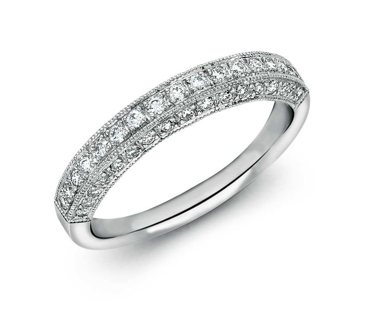 Unique Heirloom Pav Diamond Ring in Platinum ct tw