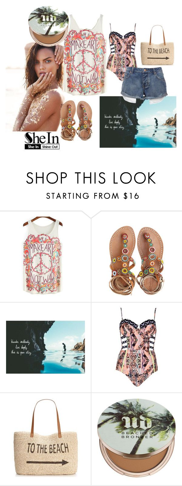 """""""To the Beach"""" by faeryrain on Polyvore featuring Laidback London, River Island, Style & Co. and Urban Decay"""