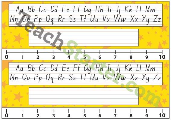 Lower Grade Desk Plate - Stars - Yellow | Teach Starter - Teaching Resources