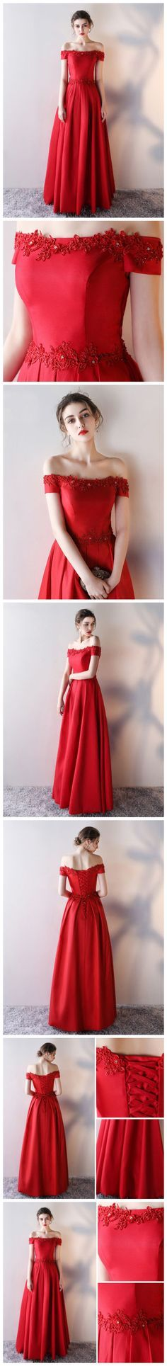 CHIC A-LINE RED OFF-THE-SHOULDER APPLIQUE MODEST PROM DRESS EVENING DRESS AM642 #amyprom #fashion #party #evening #chic #promdress #promdresslong #longpromdress #eveningdress #red
