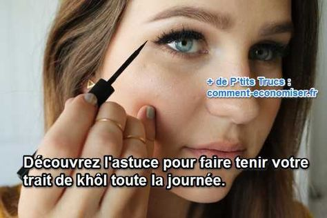 La solution au problème, c'est d'appliquer du fard à paupières humide là où l'on applique le crayon. Et comme ça, mon maquillage tient toute la journée. Magique, non ?  Découvrez l'astuce ici : http://www.comment-economiser.fr/faire-tenir-khol-journee.html?utm_content=buffer2c893&utm_medium=social&utm_source=pinterest.com&utm_campaign=buffer