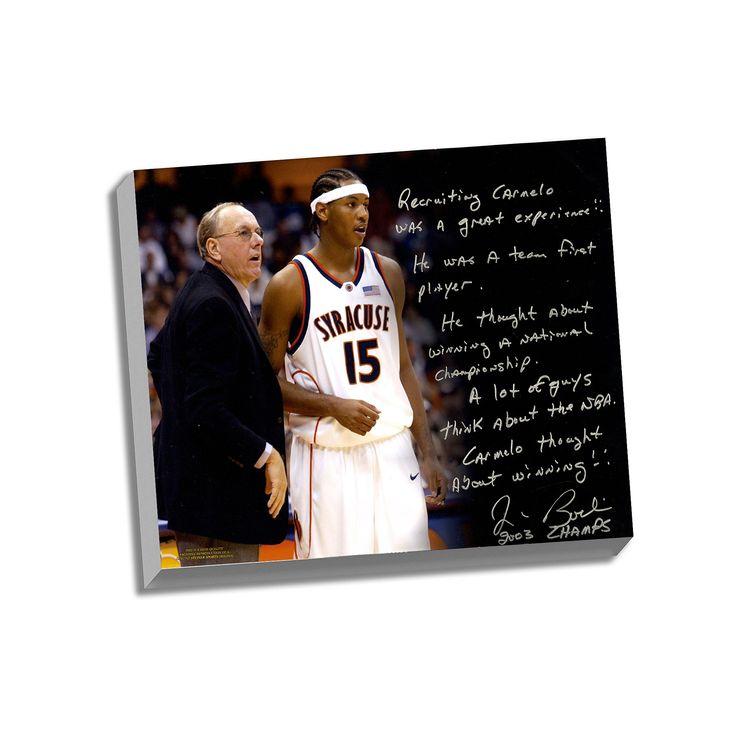 "Steiner Sports Syracuse Orange Jim Boeheim Recruiting Carmelo Facsimile 22"" x 26"" Stretched Story Canvas, Multicolor"