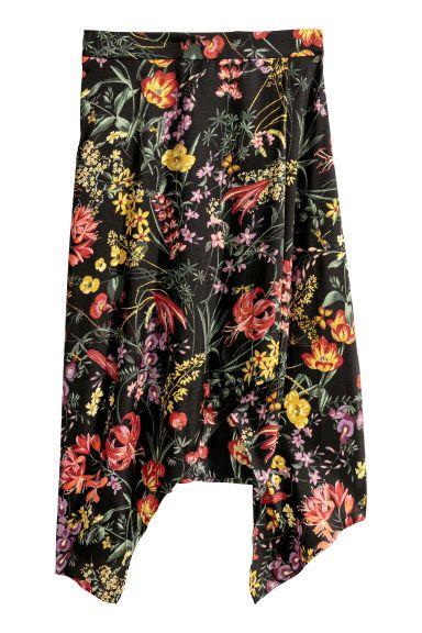 Falda estampada - Negro/Floral - MUJER | H&M ES 1