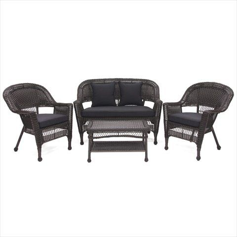Jeco W00201-G-FS017 4 Piece Espresso Wicker Conversation Set - Black Cushions. Material - Resin Wicker, Steel. Finish - Espresso. Comes with Black Cushions. Steel frame for extra durability. All weather resin wicker.