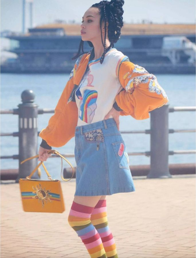 Kiko Mizuhara wearing Marc Jacobs Spring '17. Shot by Mari Sarai, styled by Shino Suganuma for Elle Japan 2017