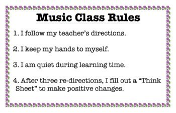 Music Class Rules - PBIS Think Sheet inspired