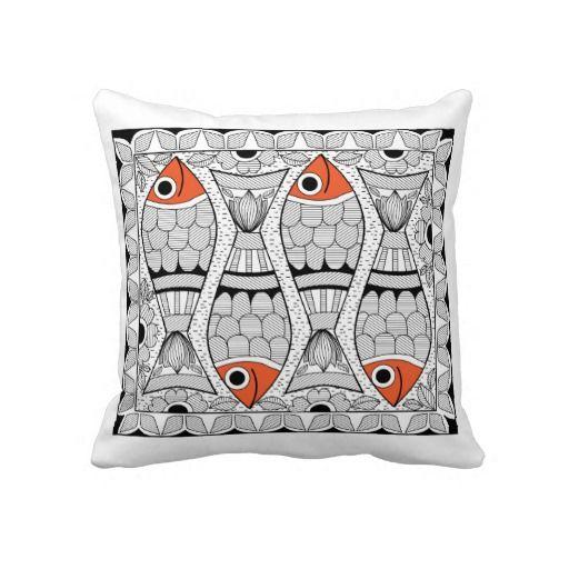 Madhubani 4 Fish Pillows by Aparna Bhandari, ABCreations