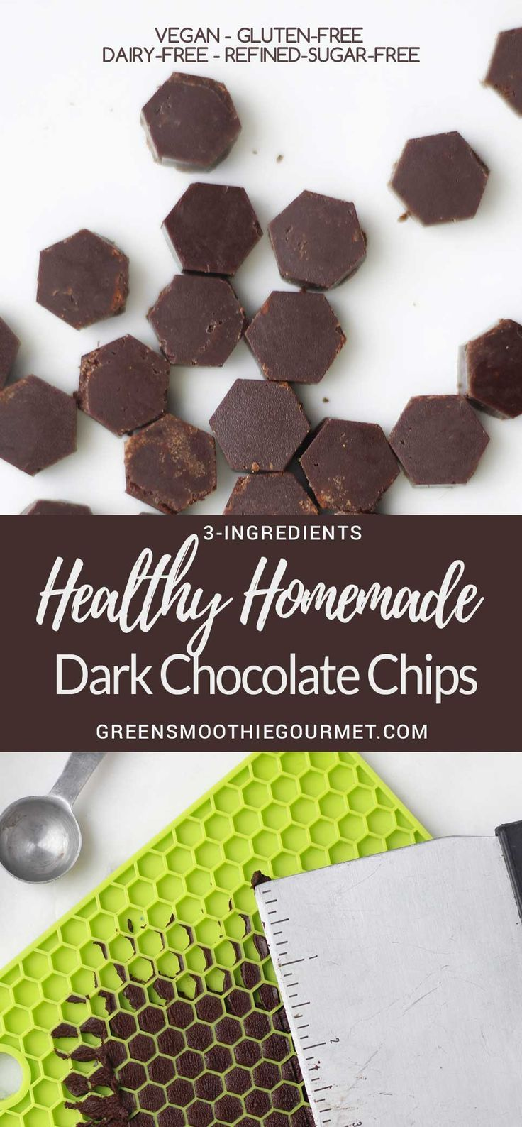 Homemade Dark Chocolate Chips Only 3-ingredients, super healthy, and molded with a kitchen potholder! #vegan #chocolatechips #glutenfree #dairyfree RECIPE: https://greensmoothiegourmet.com/homemade-dark-chocolate-chips-3-ingredients-vegan-glutenfree-paleo/