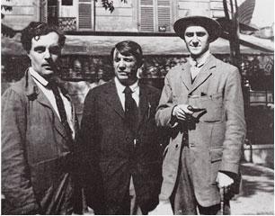 Modigliani, Picasso and André Salmon in front the Café de la Rotonde, Paris, 1916