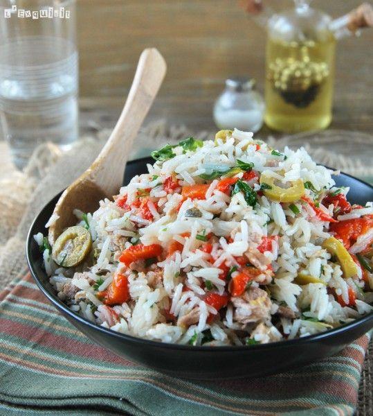 Ensalada de arroz con atun y pimientos asados