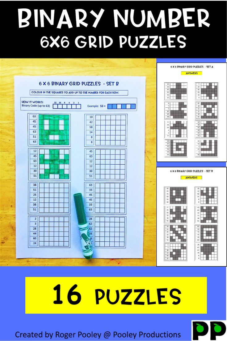 Binary Number Grid Puzzles 6 X 6 Grids Grid Puzzles Binary Number Number Grid Binary addition practice online