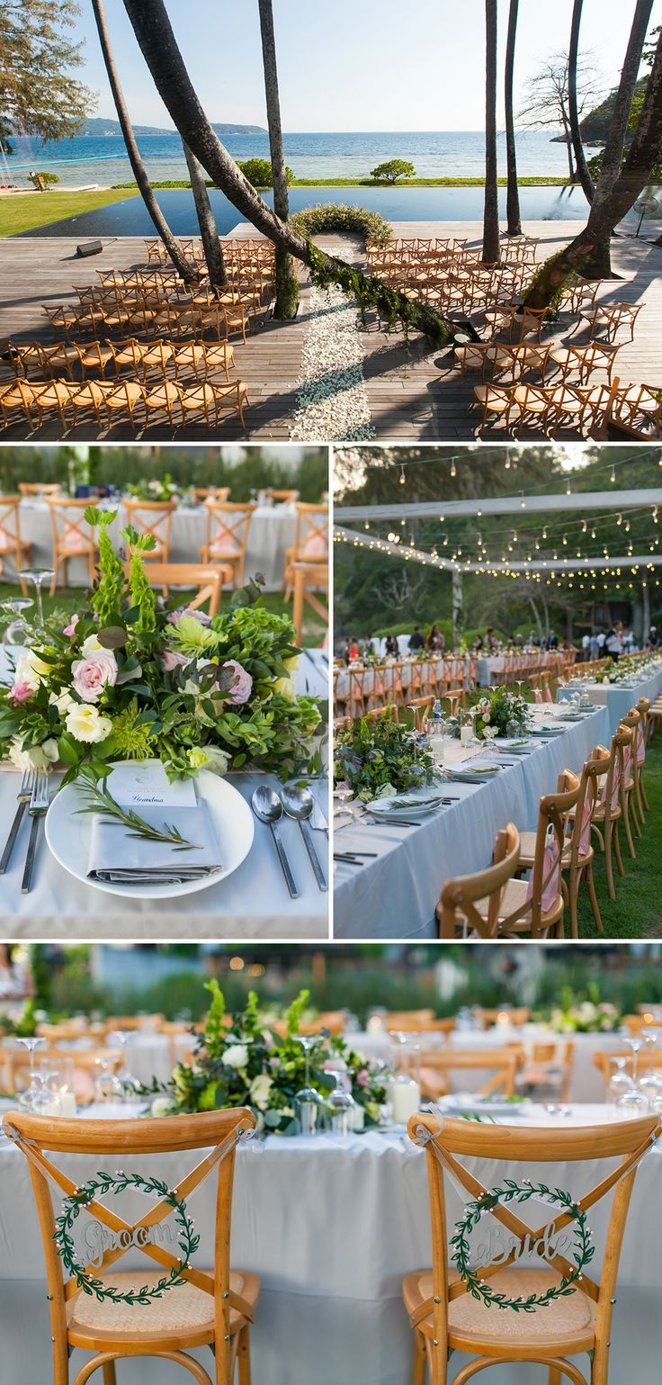 Beautiful beach wedding at The Naka Phuket, Thailand, with a rustic circular altar made out of meadow flowers and grass and fairy lights // Destination beach wedding venues and wedding decor inspiration