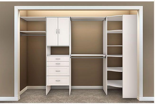 white corner closet organizer