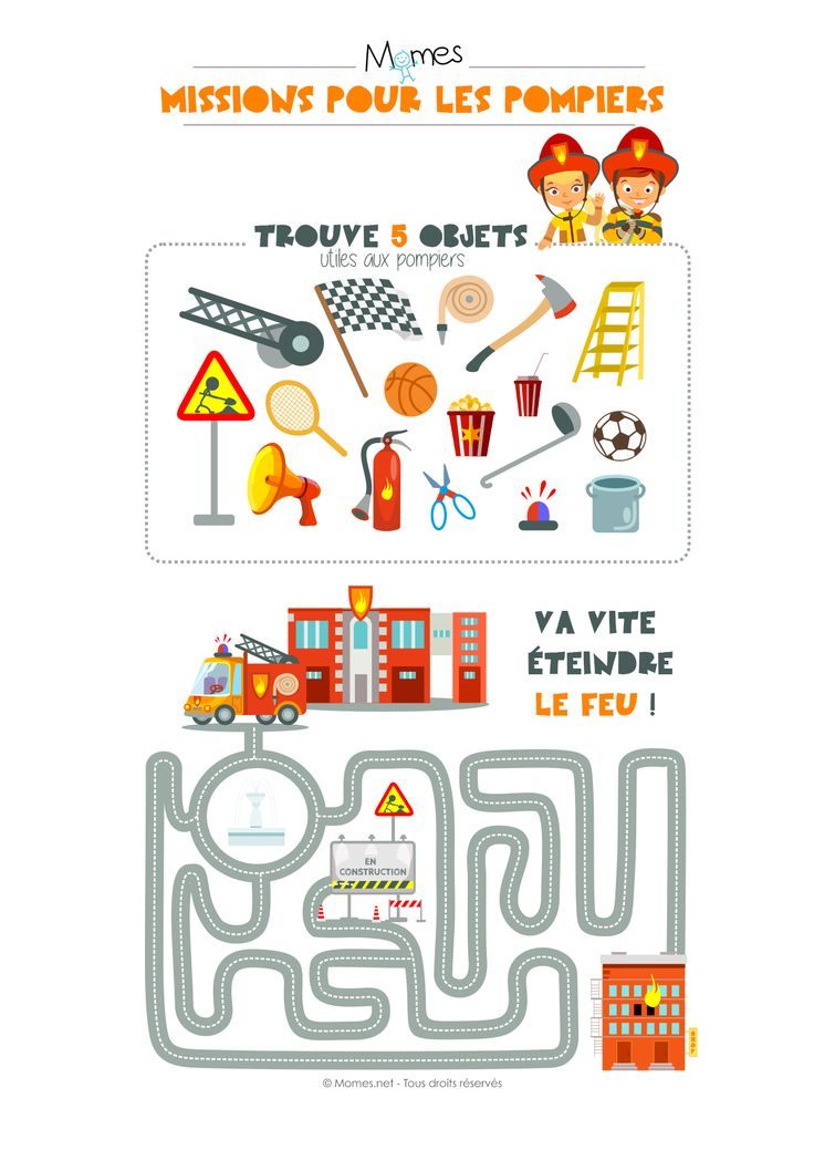 Voici deux petites activités à imprimersur le thème des pompiers réunies sur une page : un jeu de discrimination visuelle et un labyrinthe. Deux véritables missions pour les p'tits pompiers !