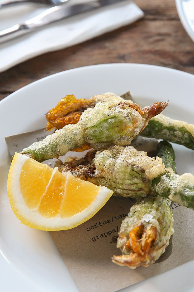 Fried zucchini flowers at Sagra