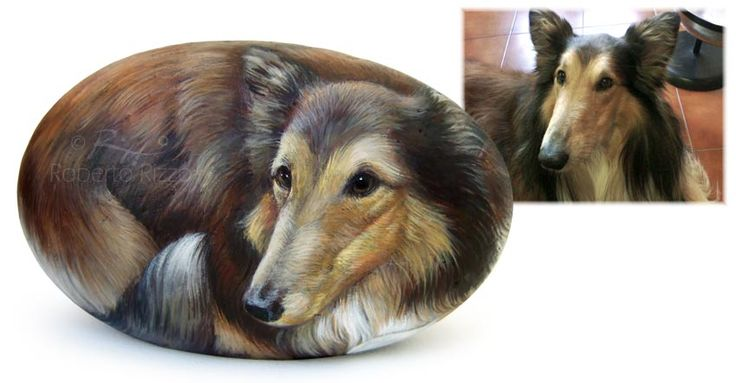 Roy's portrait - acrylic on rock - cm.14 | Dog portraits on sea rocks by Roberto Rizzo | www.facebook.com/robertorizzoart