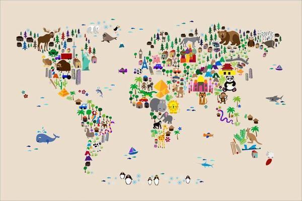 Animal World Map Rug