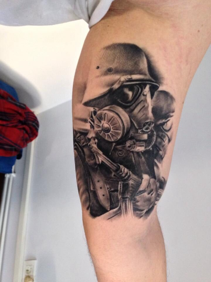 Soldier Tattoo Chemical Corps Hooah Military