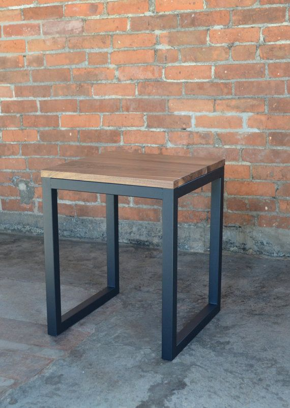 Loop Side Table - Includes Delivery - 16 x 16 x 20T Solid Walnut or Maple with Crafted Steel Frame