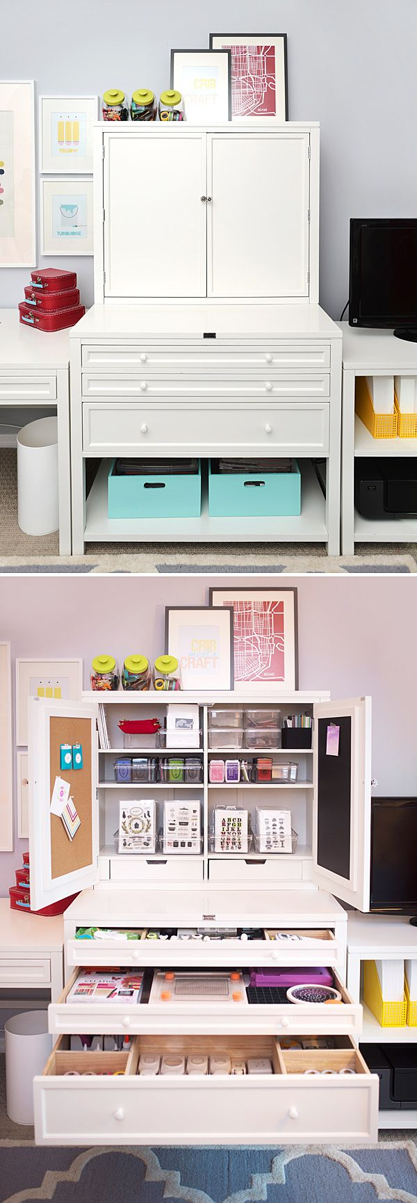 That's the Martha Stewart Living Craft Hutch and Flat File  Cabinet in a craft room makeover styled by Amber Kemp-Gerstel of Damask Love. It's not JUST a craft room, though! See the unlikely other purpose for this room on The Home Depot Blog.
