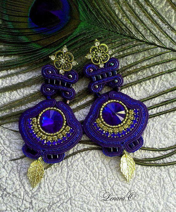 Soutache Earrings dark plum dark blue by LENARAOSMANSoutache