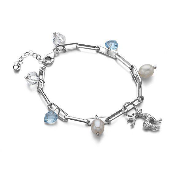 Miu Schmuck Süßwasser-Zuchtperle weiß mit echtem blauen Topas Silber Armband 17,5cm + 4cm