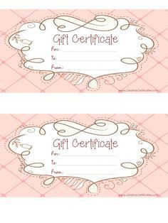 free printable pink gift certificate with a brown drawing