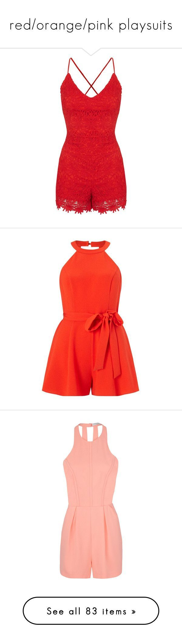 """""""red/orange/pink playsuits"""" by lulucosby ❤ liked on Polyvore featuring jumpsuits, rompers, romper, dresses, playsuits, red, lace jumpsuit, dressy romper, red romper jumpsuit and romper jumpsuit"""