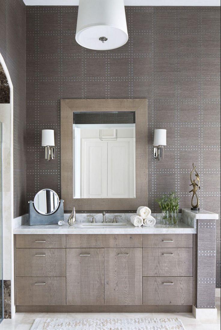 Contemporary condo bath modern bathroom chicago by jill jordan - Nailhead Trim Detailing On The Wall In This Powder Room By Krista Watterworth Design Makes For