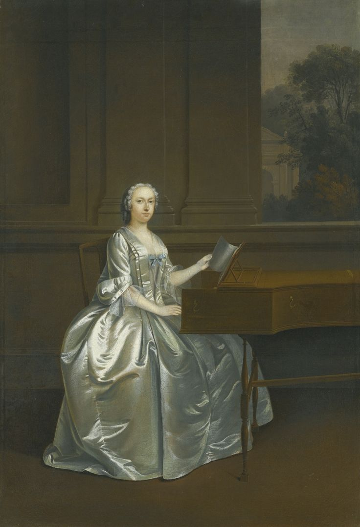 Arthur Devis (1712–1787) — Portrait of a lady, seated at a harpsichord, possibly…