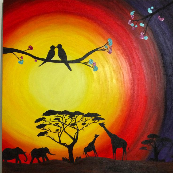 black shadow art acrylic paint african sunset