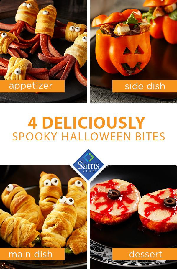 Make your house the number one stop in the neighborhood by treating your guests to these fun and festive Halloween snacks. Crispy Chicken Salad Pumpkins, Halloween Hot Dog Creatures, Jalapeno Popper Mummies and Pizza Patty Eyes will have them coming back all night long! Stop by Sam's Club and grab what you need to make this the best Halloween yet!