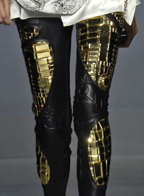 fashion, clothes, clothing, pants, bottoms, metal, robots, black, gold, Balenciaga, Spring Summer 2007
