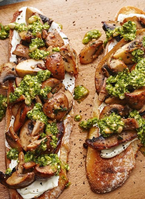 For a quick and easy dinner for two, try this tasty goat's cheese on toast, packed with herbs and topped with garlic mushrooms.