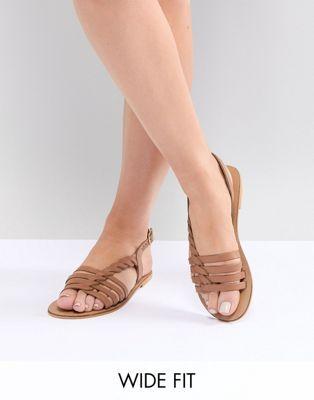 Sandals Flattered Leather Plaited Bar T ASOS DESIGN Flat Wide Fit zwq5nvax