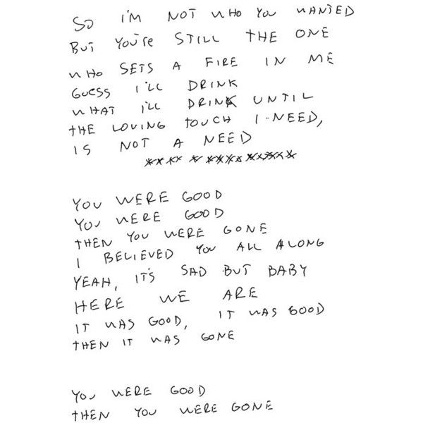 See the Handwritten Lyrics to Jimmy Eat World's 'Damage' (EXCLUSIVE) ❤ liked on Polyvore featuring writing