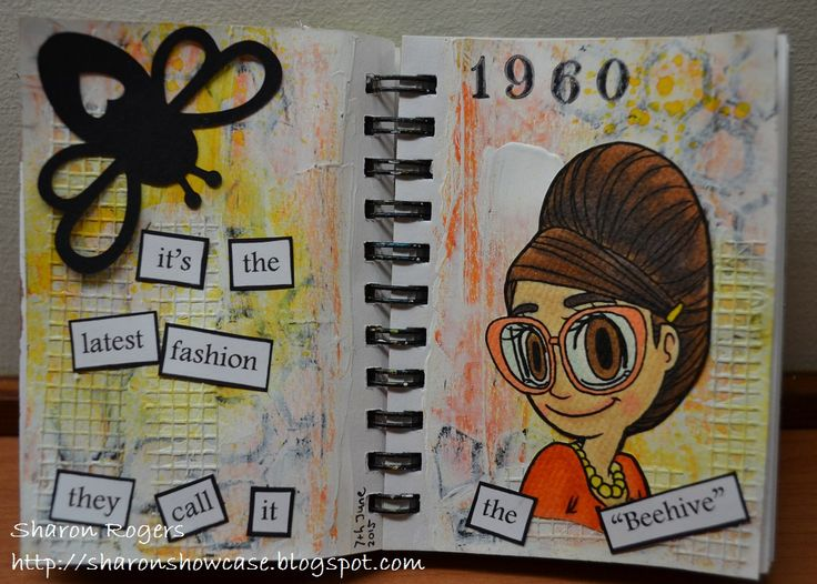 Bees, Journalling, Cameo Silhouette, Handmade, Beehive Hairstyle, http://sharonshowcase.blogspot.com, Mixed Media, Ink Sprays