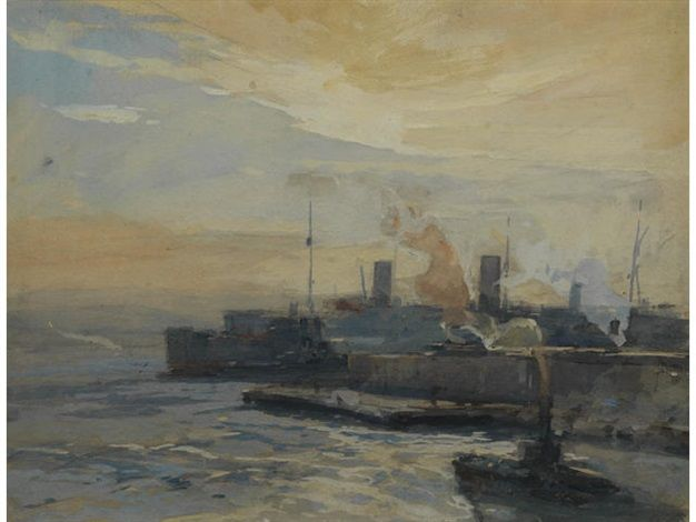 Battleships at anchor (+ An armed merchant Q-boat; pair) by Eugène Louis Gillot