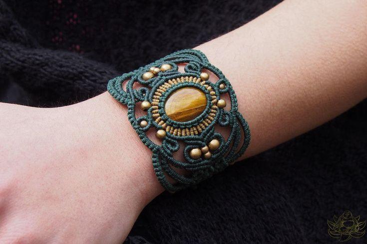 Tigers eye bracelet | Cuff bracelet | Macrame jewelry | Laughing Buddha