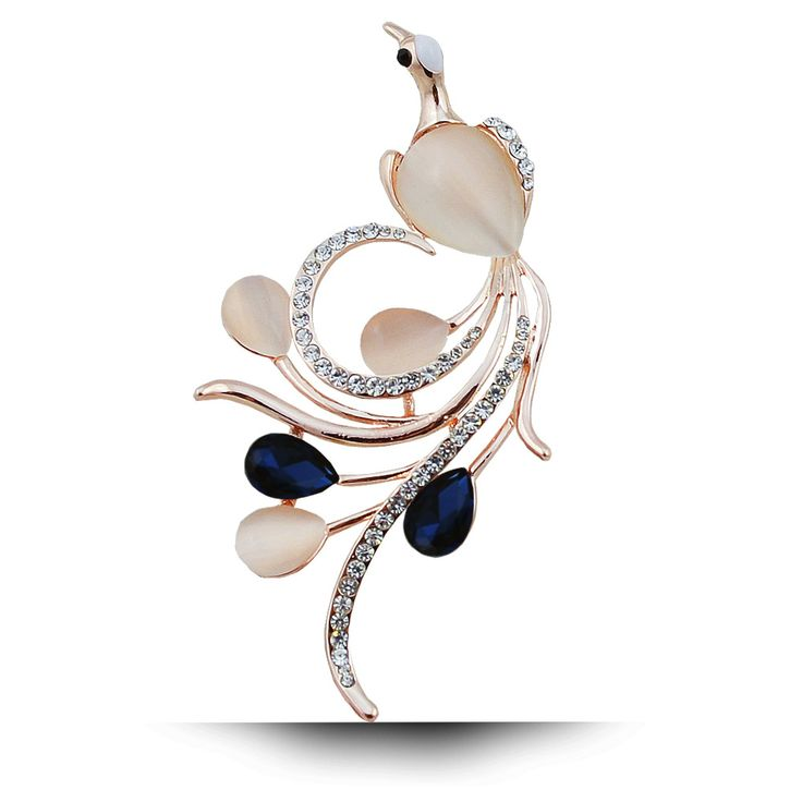Opal and CZ Rhinestone Phoenix Brooches for Women Navy Blue Color Bird Pins and Brooches gold Plated Fashion Wedding Brooches