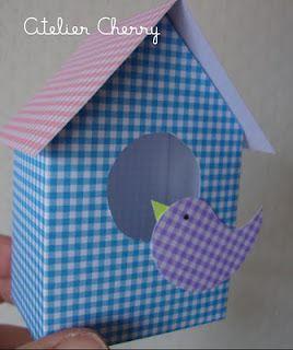 ATELIER CHERRY: Casa de passarinho em papel de scrap tem molde, pode ser usado como convite de aniversário