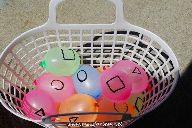 hunt for water balloons like easter eggs and/or have kids sort them in buckets based on shapes drawn on balloons. fun way to learn shapes