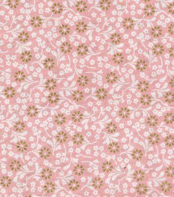 Keepsake Calico™ Cotton Fabric-Ditsy Floral Peach w/Gold Metallic
