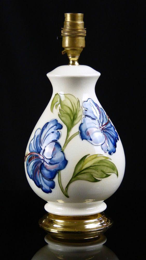 43 best moorcroft lamps i love images on pinterest lamps light super moorcroft lamp blue hibiscus on cream ground not anemone aloadofball Images