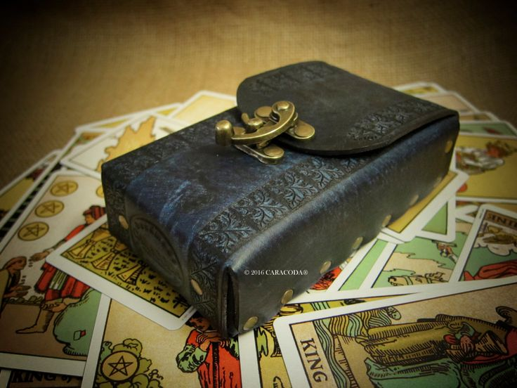 Tarot leather bag, case, pouch, cards deck veg tanned leather Rider Waite original tarot antique look, distressed leather Tarot cards bag by TarotLeatherBags on Etsy