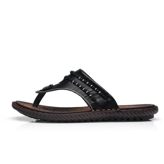 16c1f9b2b7e5b Merkmak Drop Ship Men Summer Flip Flops Beach Men s Slippers Genuine Leather  Casual Shoes for Men Flat Sandals Holiday Footwear